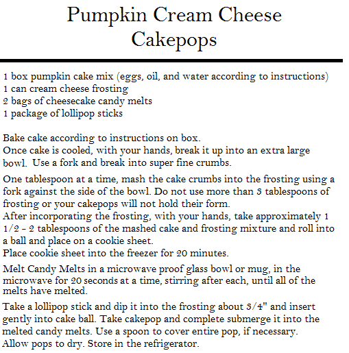 pumpkin cakepops recipe card